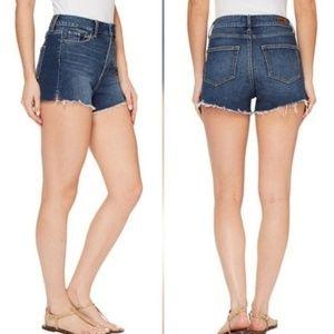 Paige Margot Cut Off Dark Wash Denim Shorts